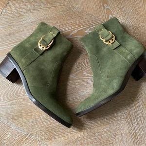 TORY BURCH Green Marsden Booties in Leccio 7.5